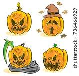 halloween pumpkin vector on... | Shutterstock .eps vector #736466929