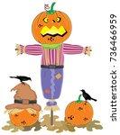 halloween scarecrow vector on... | Shutterstock .eps vector #736466959