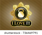 gold emblem or badge with... | Shutterstock .eps vector #736469791
