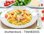 colorful penne rigate pasta... | Shutterstock . vector #736482031