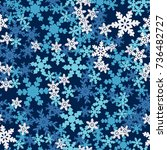 seamless pattern. snowflakes... | Shutterstock .eps vector #736482727