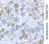 seamless pattern. snowflakes... | Shutterstock .eps vector #736482739