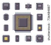 cpu microprocessors microchip... | Shutterstock .eps vector #736484887