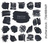 set of black ink brush strokes... | Shutterstock .eps vector #736488469