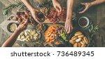 flat lay of friends hands...   Shutterstock . vector #736489345