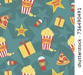 seamless pattern with cinema... | Shutterstock .eps vector #736490491