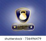 gold emblem with kettlebell... | Shutterstock .eps vector #736496479