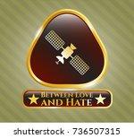 gold shiny badge with satelite ... | Shutterstock .eps vector #736507315