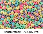 colorful cereal loop rings ... | Shutterstock . vector #736507495