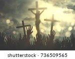 hands of christian people...   Shutterstock . vector #736509565