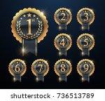 award golden label of first ... | Shutterstock .eps vector #736513789