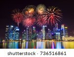 beautiful firework over central ... | Shutterstock . vector #736516861