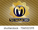 gold badge with goat head icon ... | Shutterstock .eps vector #736522195