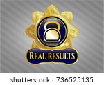 gold emblem or badge with... | Shutterstock .eps vector #736525135