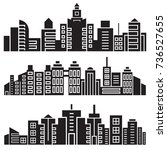 city skyline silhouette set | Shutterstock .eps vector #736527655