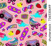 seamless pattern with colorful... | Shutterstock .eps vector #736530649