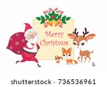 christmas greeting card with... | Shutterstock .eps vector #736536961