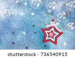red and white wooden christmas... | Shutterstock . vector #736540915