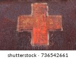 rusted medical red cross on...   Shutterstock . vector #736542661