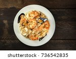 an overhead photo of a seafood...   Shutterstock . vector #736542835