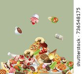 food doodle. many feed. pile... | Shutterstock .eps vector #736548175