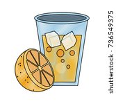 orange juice glass cup | Shutterstock .eps vector #736549375