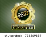 gold emblem or badge with paid ... | Shutterstock .eps vector #736569889