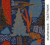winter pattern design. blue...   Shutterstock .eps vector #736574644