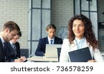 business woman with her staff ... | Shutterstock . vector #736578259