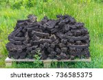 turf fossil fuel  drying in a...   Shutterstock . vector #736585375