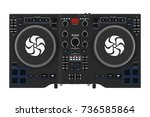 black modern dj set turntable... | Shutterstock . vector #736585864