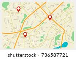 vector city map with red markers | Shutterstock .eps vector #736587721