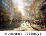 silhouette of people walking on ... | Shutterstock . vector #736588711