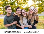 teen group of friends together... | Shutterstock . vector #736589314