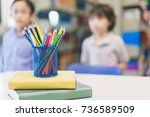 color pencils in a pencil case... | Shutterstock . vector #736589509