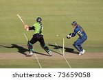 SOUTH AFRICA - DECEMBER 22: Justin Kreusch & Morne van Wyk during a one-day cricket match between the Knights and Warriors (Knights won them match) on November 12, 2010 in Bloemfontein, South Africa - stock photo