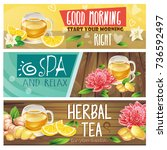 set of good morning  spa and... | Shutterstock .eps vector #736592497