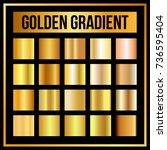 vector set of golden gradients. ... | Shutterstock .eps vector #736595404