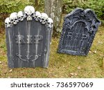 Small photo of Closeup of Decorative Halloween Tombstones - October 14, 2017. Decorative Halloween Tombstones taken while visiting a Bergen County Zoo, New Jersey on October 14, 2017.