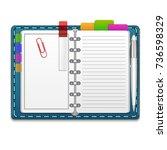 realistic 3d open organizer... | Shutterstock .eps vector #736598329