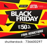 black friday sale banner layout ... | Shutterstock .eps vector #736600297