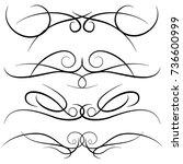 set of vintage decorative curls ... | Shutterstock .eps vector #736600999
