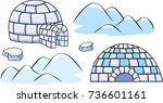 a set of winter igloo houses... | Shutterstock .eps vector #736601161