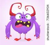 cute cartoon monster. vector ... | Shutterstock .eps vector #736602934