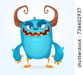 cute furry blue monster. vector ... | Shutterstock .eps vector #736602937