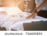 young woman pull out paper from ... | Shutterstock . vector #736604854