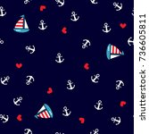 seamless pattern with anchors... | Shutterstock .eps vector #736605811