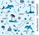 seamless pattern with sailing ... | Shutterstock .eps vector #736605829
