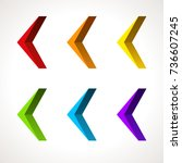 3d arrow icon set. vector... | Shutterstock .eps vector #736607245