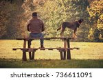 man with dog in fall season ... | Shutterstock . vector #736611091